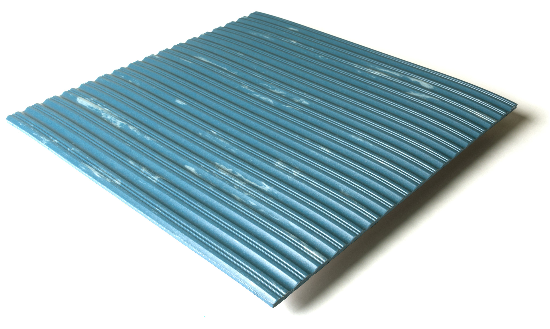 Standard transit flooring in marbled blue, ribbed