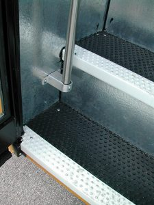 Pebbled step-covering with nosing