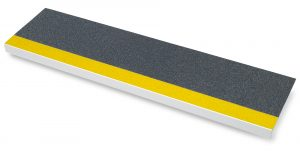 Astra step-covering in black with yellow nosing