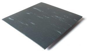 Standard transit flooring in marbled dark gray, ribbed