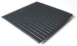 Standard transit flooring in black, ribbed