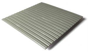 Standard transit flooring in marbled light gray, ribbed