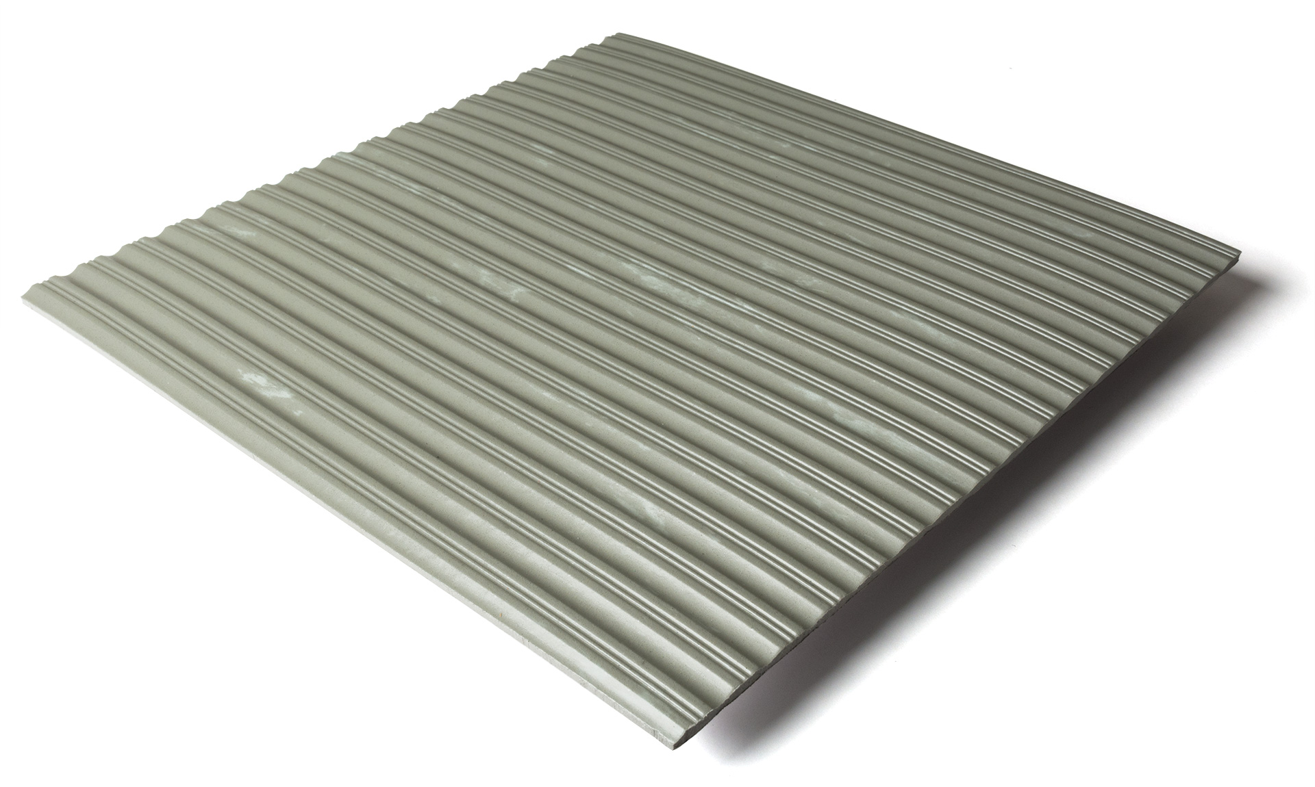 Standard transit flooring in marbled light gray, ribbed