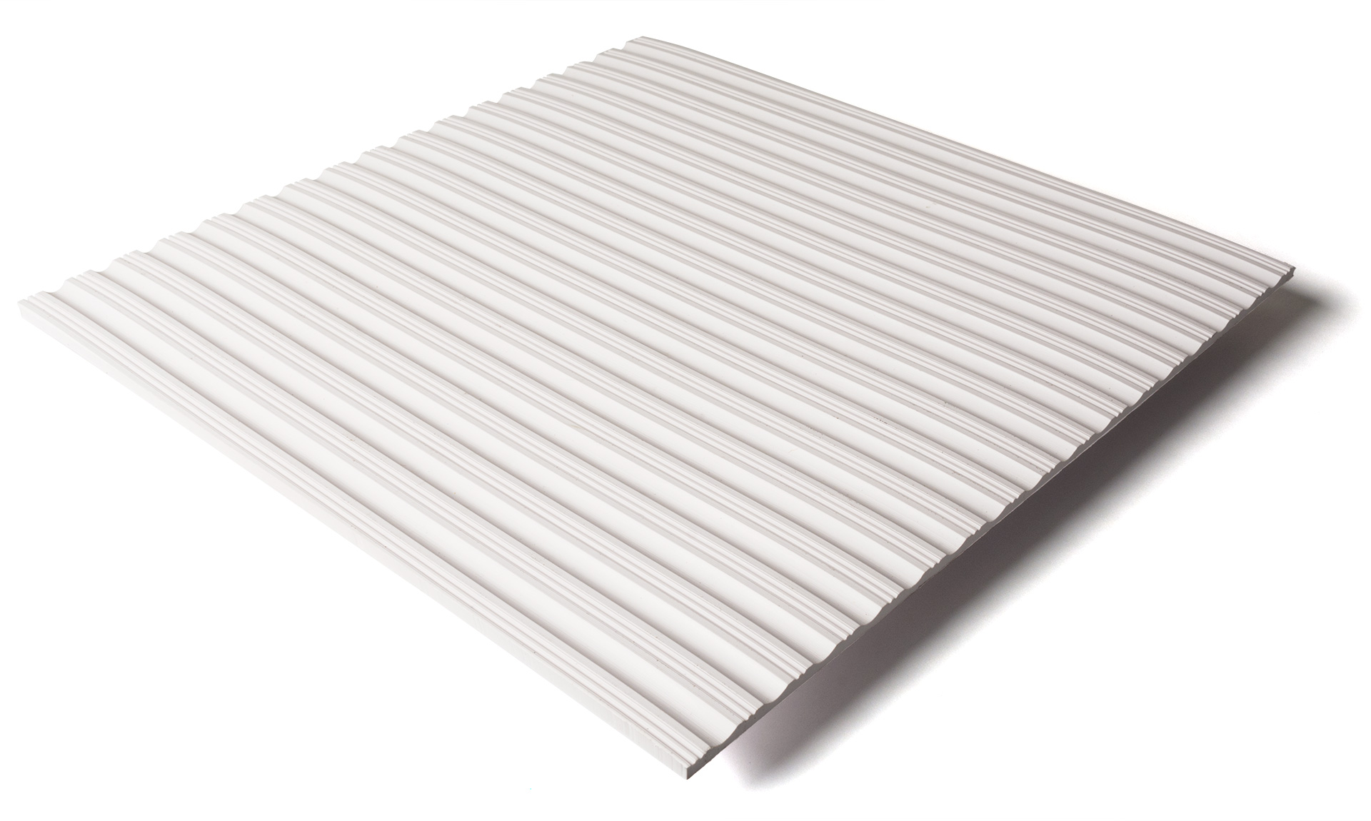 Standard transit flooring in white, ribbed