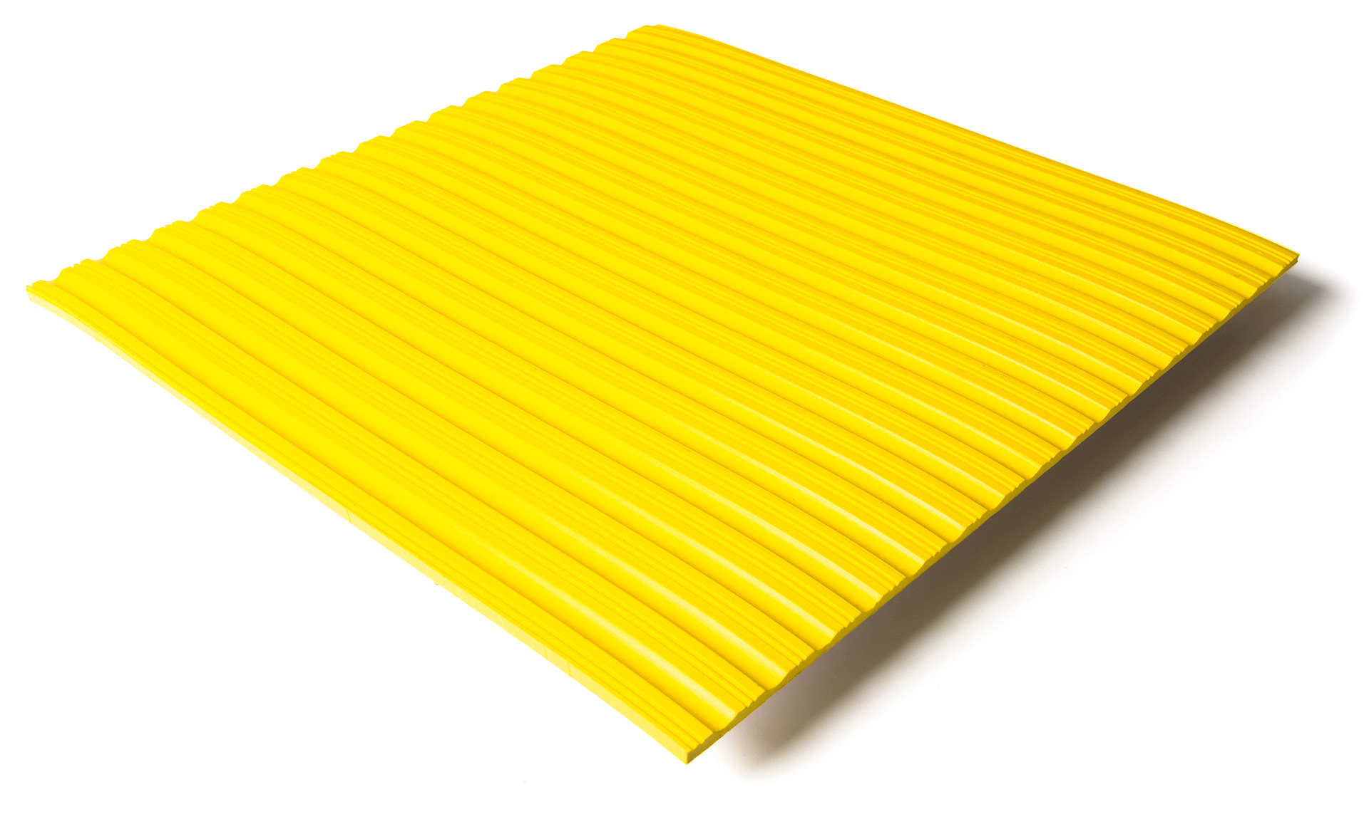 Standard transit flooring in yellow, ribbed